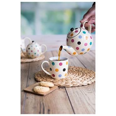 London Pottery Globe 6 Cup Teapot Ivory With Multi Spots   86100