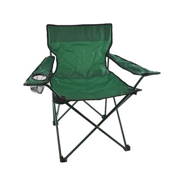GREEN CANVAS CAMPING FOLDING CHAIR WITH ARMS & CUP HOLDER