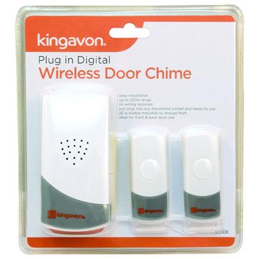 Kingavon Plug In Wireless Door Bell Chime with 2 Bell Push | DC106