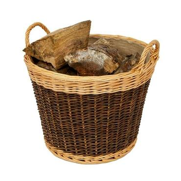 Large Two Tone Willow Log Basket with Lining