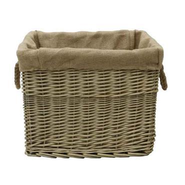 Antique Wash Rectangular Wicker Lined Log Basket