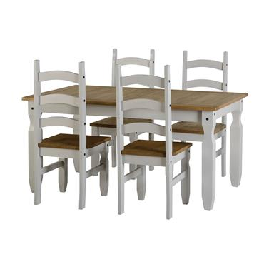 Corona Grey Rectangular Dining Table & 4 Chairs | COR021040