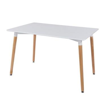 Aspen White Rectangular Table with Wooden Legs | COR027042