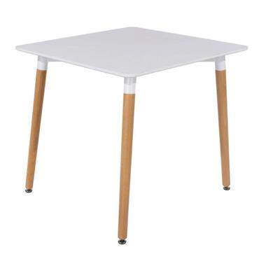 Aspen White Square Table with Wooden Legs | COR027059