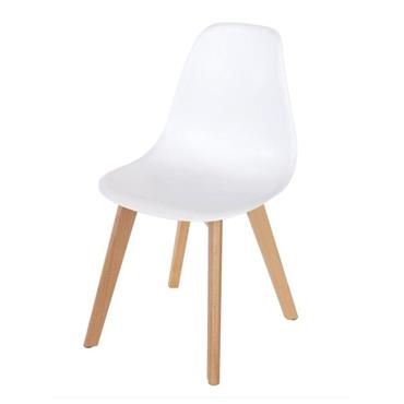 Aspen White Plastic Chair with Wooden Legs | COR028308