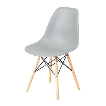 Aspen Grey Plastic Chair with Wooden Legs & Metal Cross Rails | COR028513