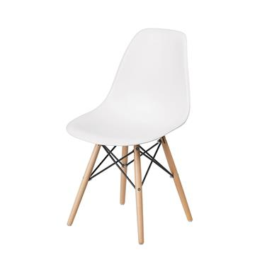 Aspen White Plastic Chair with Wooden Legs & metal Cross Rails | COR028544
