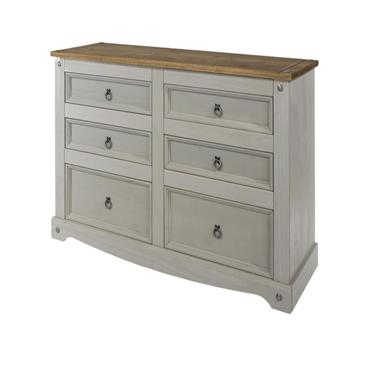 Corona Grey Chest of Drawers 3+3 Wide | COR028780