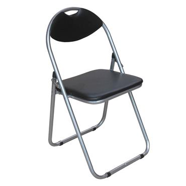 FOLDING CHAIR BLACK LEATHER SILVER FRAME