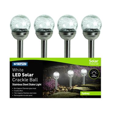Status Sydney Single Stake Crackle Solar Light - Stainless Steel | SYDNEYSC8CM12