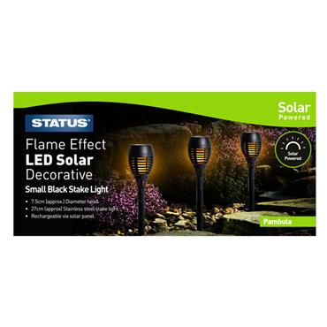 Status Pambula Dancing Fire Flame Solar Light 3 Pack - Black | PAMBULASS3PK6