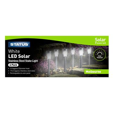 Status Melbourne Solar Stake Light 6 Pack - Stainless Steel | MELBOURNESS6PK3