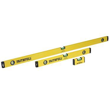 Faithfull Box Spirt Level Set of 3 (120cm  60cm 10cm Mine Level) | XMS21LEVSET3