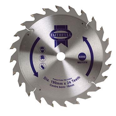 CIRCULAR SAW BLADE 190 X 16MM X 24T