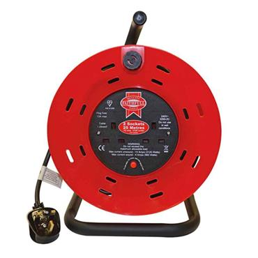 Faithfull Open Drum Cable Reel 240V 13A 2-Socket 25 Metre | FPPCR25M