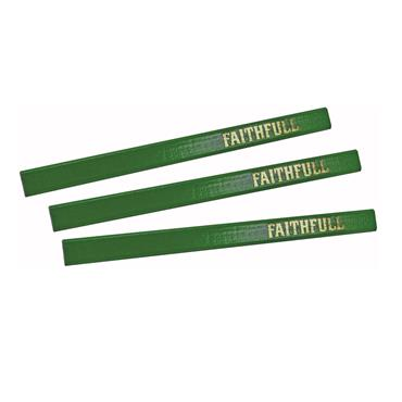 Faithfull Carpenter's Pencils - Green / Hard (Pack of 3) | FAICPG