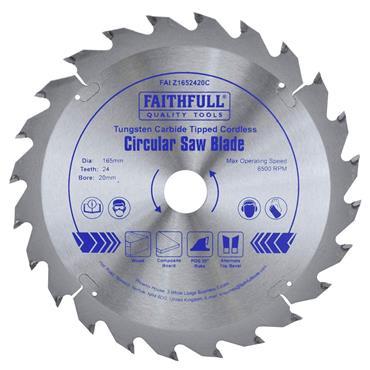 Faithfull TCT Circ Circular Saw Blade 165mm x 20mm x 24T POS | FAIZ1652420C