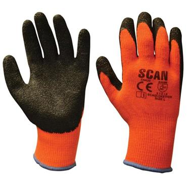 Scan Orange/Black Knitshell Thermal Gloves (Pack 5) | XMS19GLATEX5