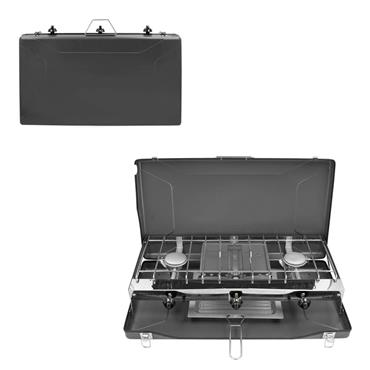 Milestone 4.5kW Double Burner Gas Camping Stove & Grill in Case