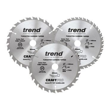 Trend CraftPro Cordless Saw Blade 165 x 20mm x 24T/40T (Pack 3)