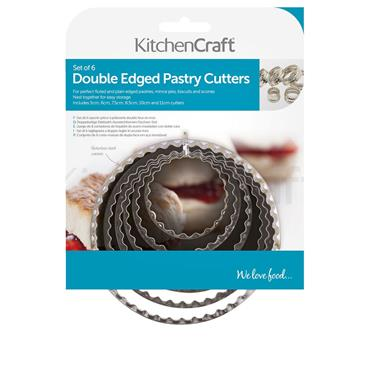 Kitchencraft Set of Six Double Edged Biscuit / Pastry Cutters | KCPASTRY6SS