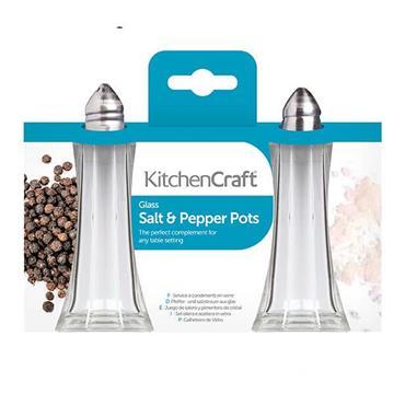 KitchenCraft Set of 2 Glass Salt and Pepper Shakers | KCSNPCAFE