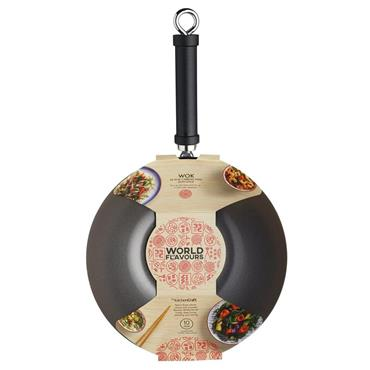 Kitchencraft World of Flavours Oriental Carbon Steel Non-Stick Wok 26.5cm | KCOR2