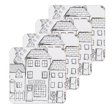 KC VILLAGE DRINKS COASTERS 4 PACK