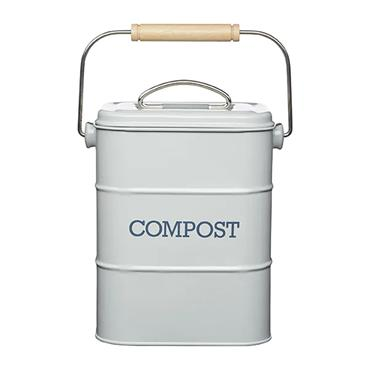 Living Nostalgia 3 Litre Compost Bin - French Grey   LNCOMPGRY
