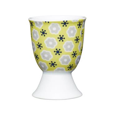 KitchenCraft Floral Yellow Porcelain Egg Cup   KCEGGFLORAYEL
