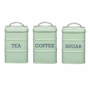 Living Nostalgia Metal Tea Caddy Tin - Sage Green | LNTEAGRN