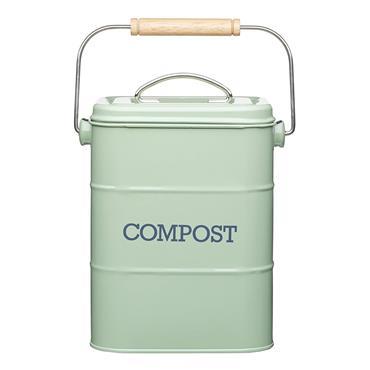 Living Nostalgia Metal Kitchen Compost Bin - Sage Green   LNCOMPGRN