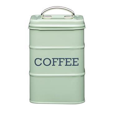 Living Nostalgia Metal Coffee Caddy Tin - Sage Green| LNCOFFEEGRN