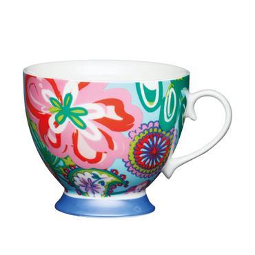 KitchenCraft China Bright Floral Footed Mug   KCMFTD10