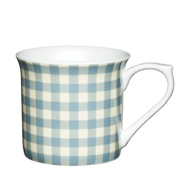 KitchenCraft Fluted China Blue Gingham Mug | KCMFLT13