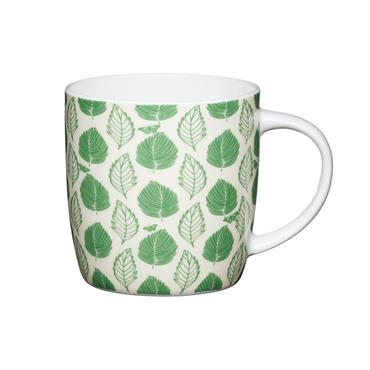 KitchenCraft China Green Leaf Mugs   KCMBAR135