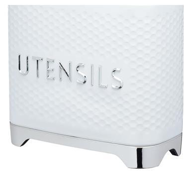 Lovello Retro Utensil Holder with Geometric Textured Finish - Ice White | LOVUTENWHT