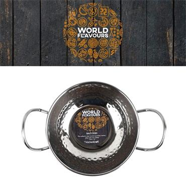 World of Flavours 15cm Hammered Stainless Steel Indian Balti Dish | WFBALTIHAM15