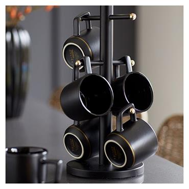 MasterClass Stainless Steel Matt Black and Brass Finish Mug Tree | MCBRSMTREE