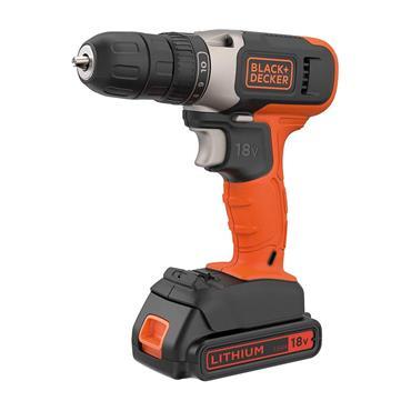 Black & Decker 18V Cordless Drill Driver with 2 1.5ah Batteries  & Kitbox | BCD001BAST