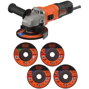 Black and Decker 710W 115mm Mini Angle Grinder & 5 Cutting Discs | B/DBEG010A5