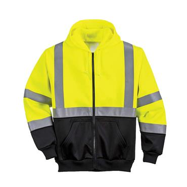 PORTWEST HI-VIS HOODED ZIP SWEATSHIRT