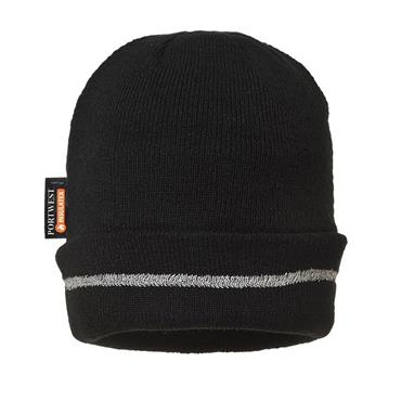 PORTWEST REFLECTIVE TRIM KNITTED HAT BLACK