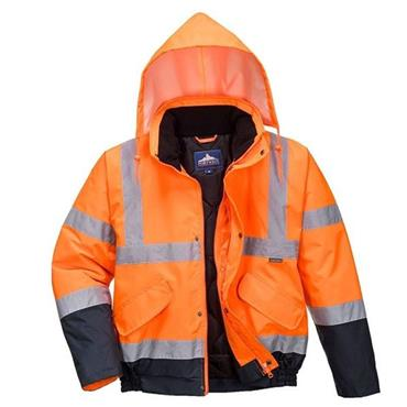 PORTWEST HI-VIS 2 TONE BOMBER JACKET (ORANGE / NAVY)