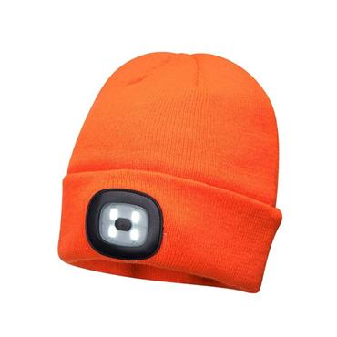 PORTWEST LED HEADLIGHT BEANIE HAT ORANGE