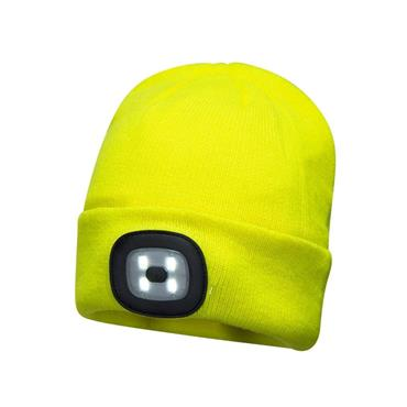 PORTWEST LED HEADLIGHT BEANIE HAT YELLOW