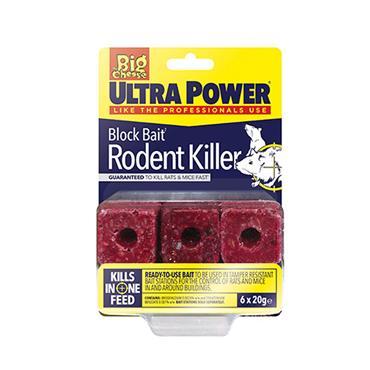 Big Cheese Ultra Power Block Bait Rodent Killer 6 x 20g | STV567