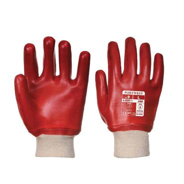 PORTWEST PVC KNITWRIST GLOVE RED LARGE | RG40RERL