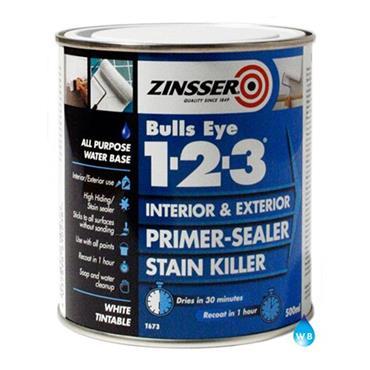 Zinsser Bulls Eye 1-2-3 123 Primer Sealer 500ml - White | ZN610238