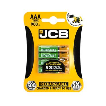 JCB AAA RECHARGABLE BATTERY 4 PACK 900MAH | 1737-14